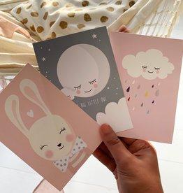 Set of postcards Bunny, Moon & Cloud