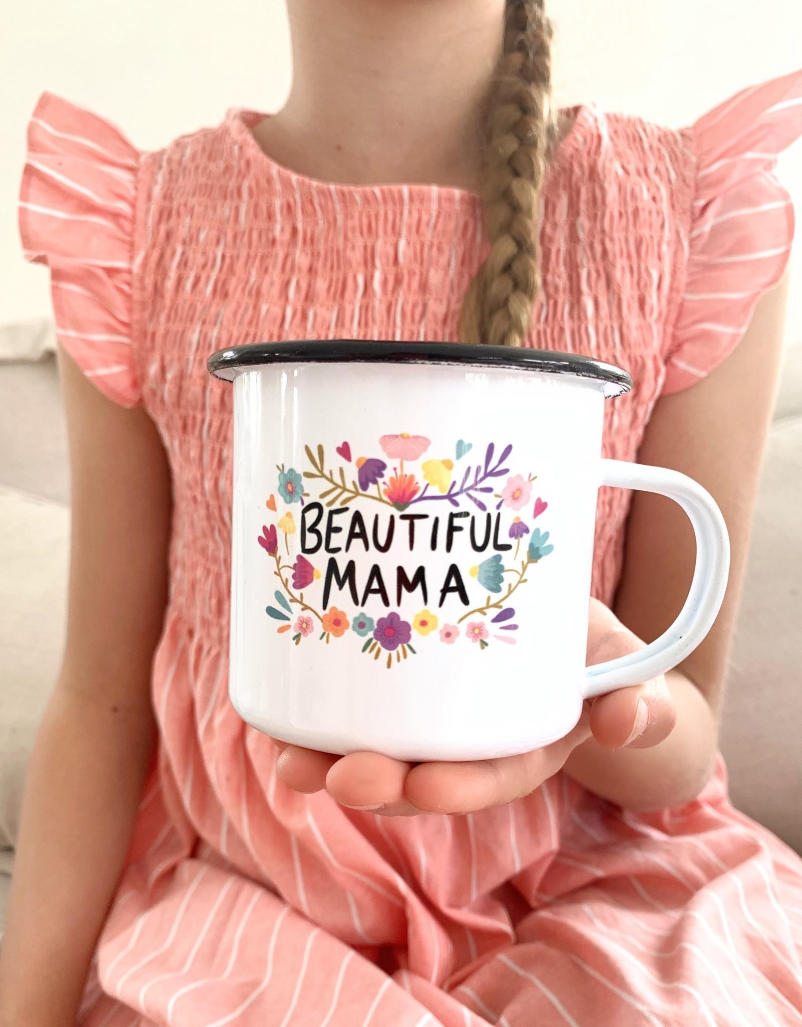Hochwertige Emailletasse Beautiful Mama