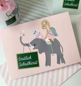 """Postkarte """"Endlich Schulkind"""" Fräulein Hase"""