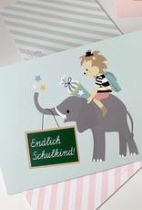 """Postkarte """"Endlich Schulkind"""" Kleiner Löwe"""