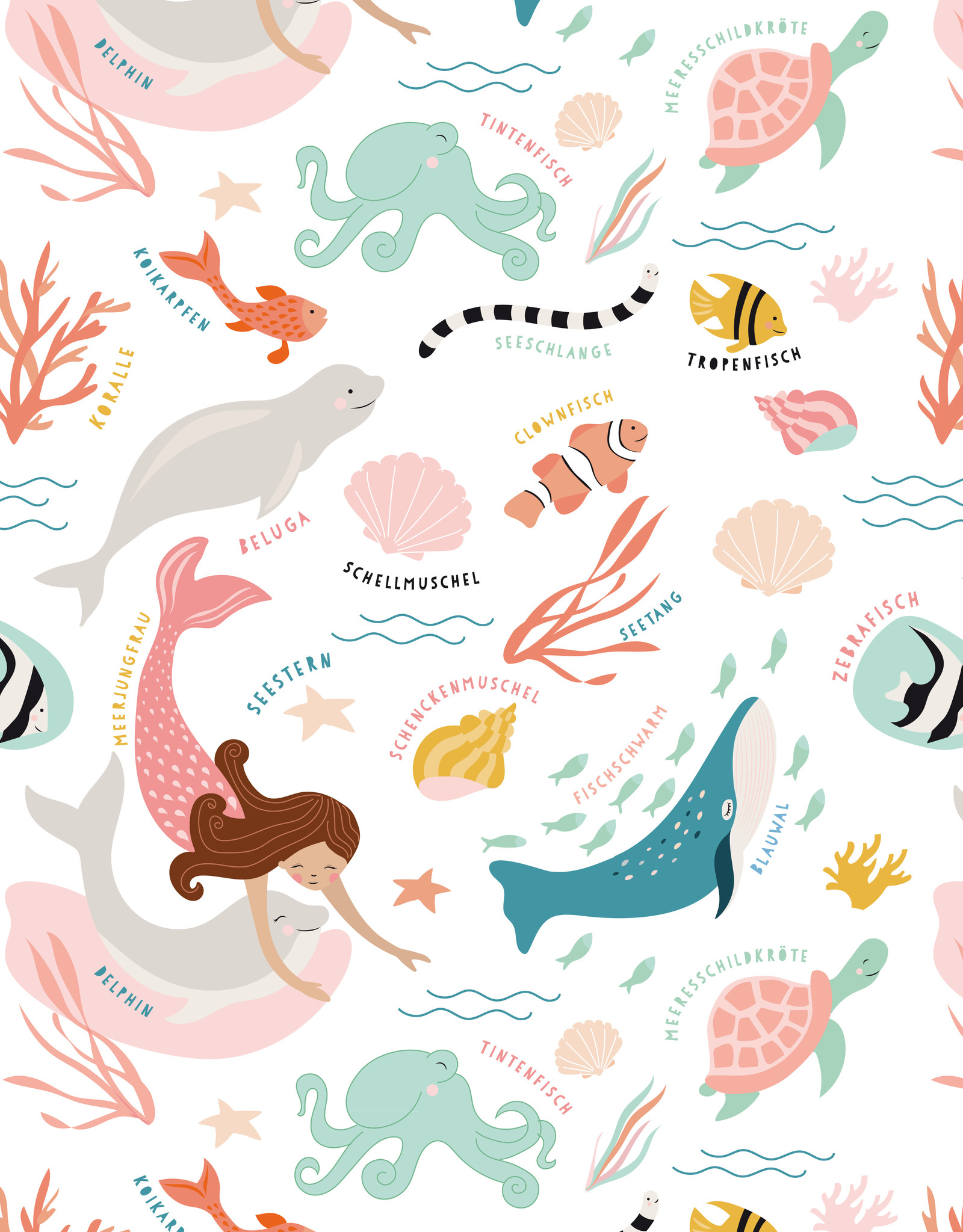 Geschenkpapier-Unter dem Meer-original Mimirella Illustration -