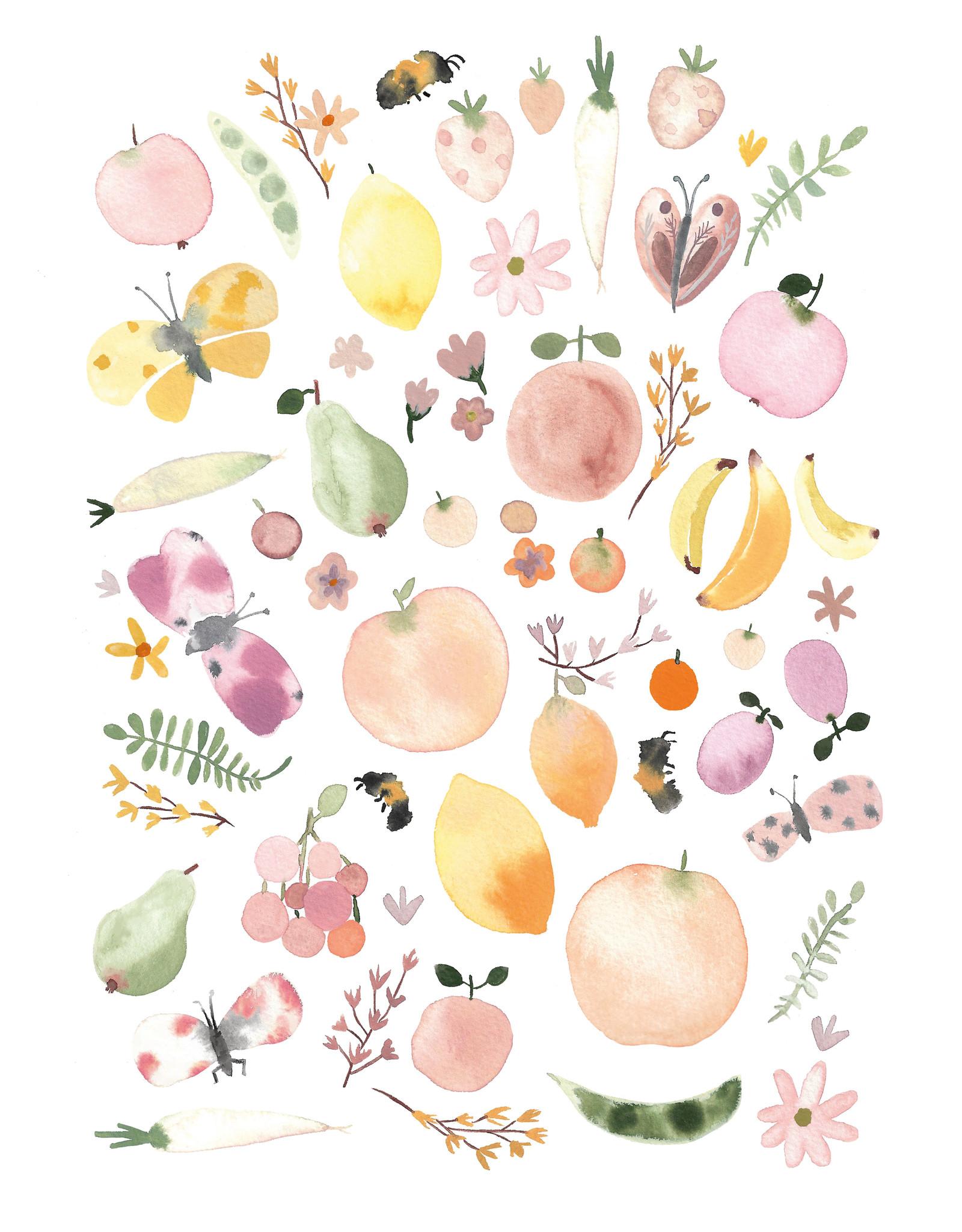 Print Summermarket watercolor illustration