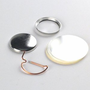 Button parts, pinback, 25mm (100 sets)