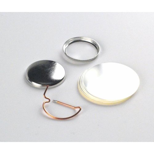 Button parts, pinned back, 25mm (1 inch), per 100 sets