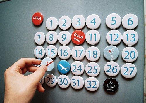 kalender met magneetbuttons