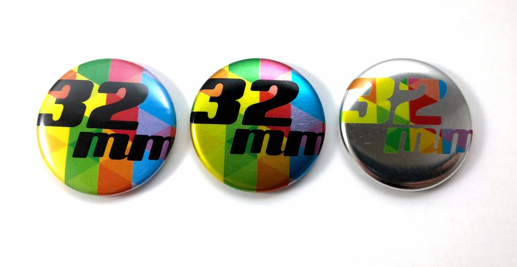 32mm round custom buttons - Metal Flatback + Clothing Magnet