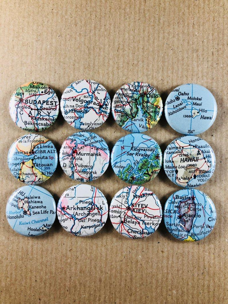 Budapest, gibraltar, honolulu, arkhangel'sk, murmansk, volgograd, oslo, harstad, kiev, hawaii, molokaï, Ajaccio, bonifacio, magnet buttons, 1inch, 25mm