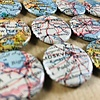 Upcycle old paper maps into 25mm (1 inch) magnets