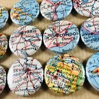 25mm magneten gemaakt van vintage landkaarten - upcycle!