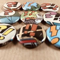 Magnet Buttons made out of real vintage comics