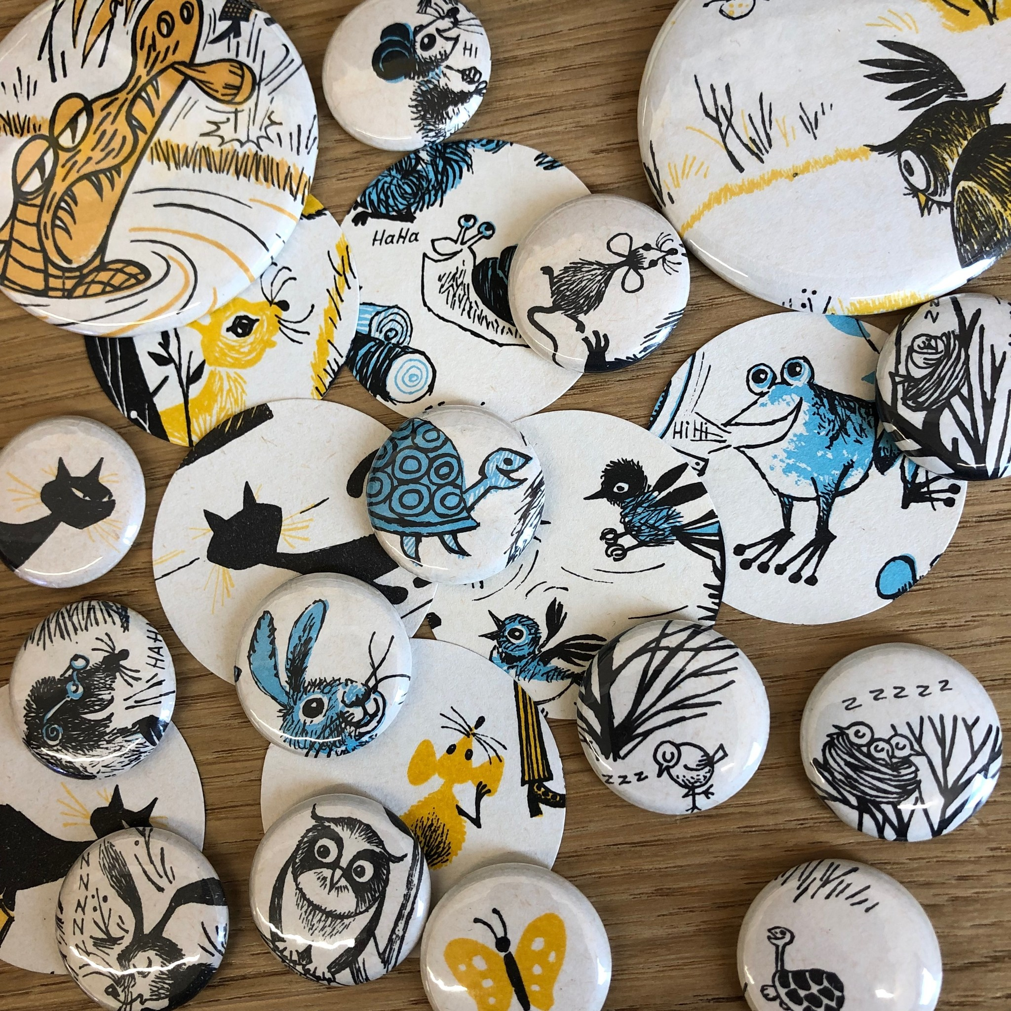 Vintage Children Comic animals magnet buttons