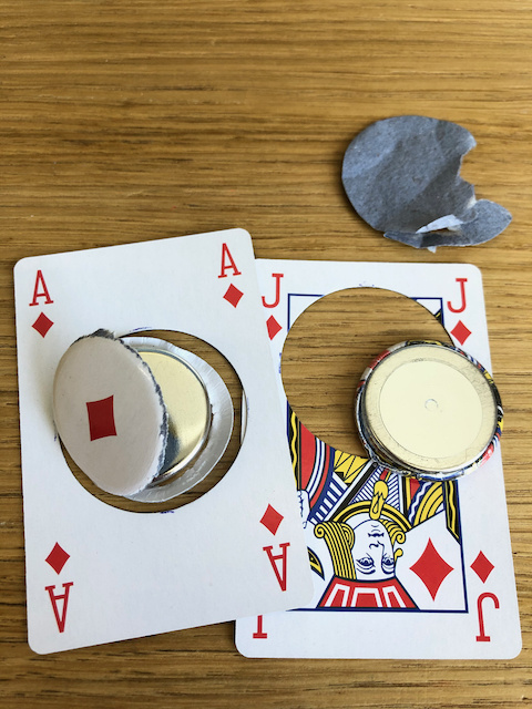 magnet buttons out of playing cards heavy stock failures