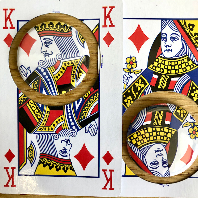 magnet buttons out of playing card king queen heavy stock succes