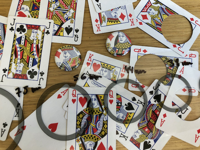 magnet buttons out of playing cards heavy stock