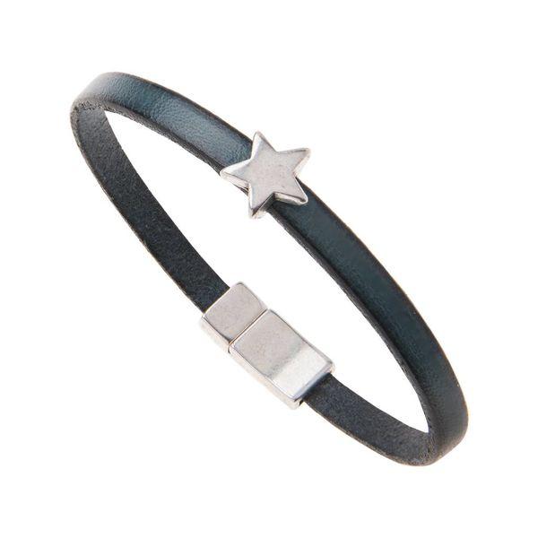 Leather Star Charm Bracelet - Petrol