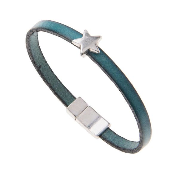 Leather Star Charm Bracelet - Turquoise