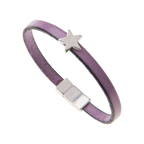 Leather Star Charm Bracelet - Purple