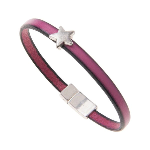 Leather Star Charm Bracelet - Fuchsia