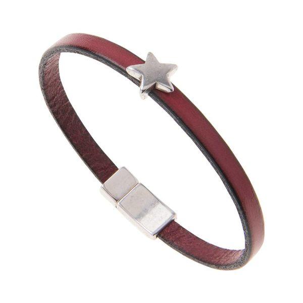 Leather Star Charm Bracelet - Burgundy