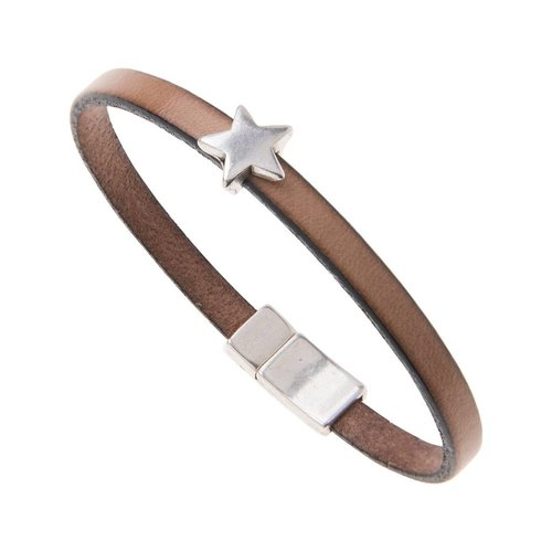 Carrie Elspeth Natural Faux Leather Star Charm Bracelet