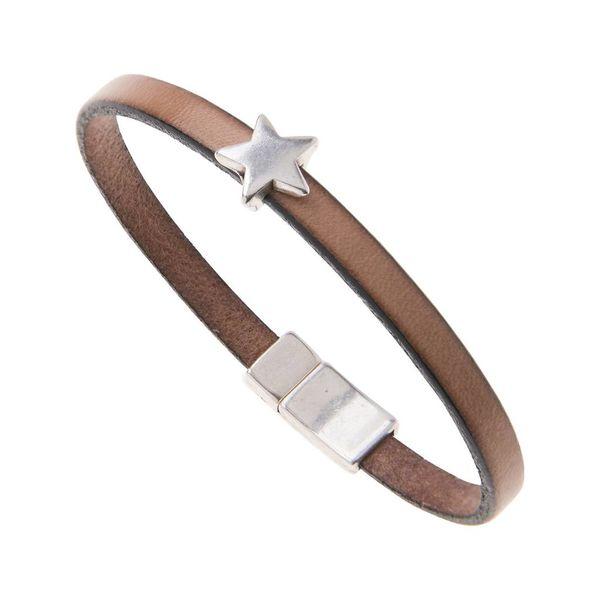 Leather Star Charm Bracelet - Natural
