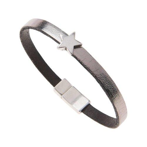 Carrie Elspeth Leather Star Charm Bracelet - Gun Metal