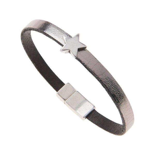 Leather Star Charm Bracelet - Gun Metal