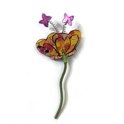 One Button Flower with butterflies Brooch 005