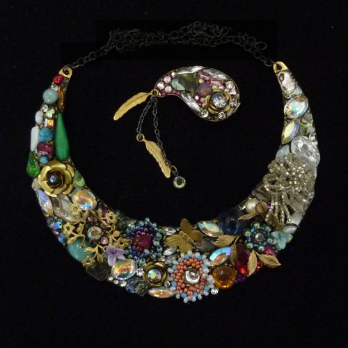 Annie Sherburne Vintage Crescent necklace crystal assemblage