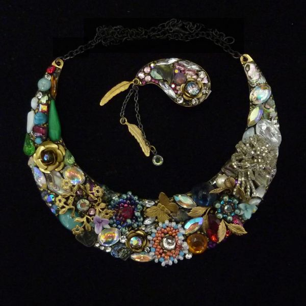 Vintage Crescent crystal necklace