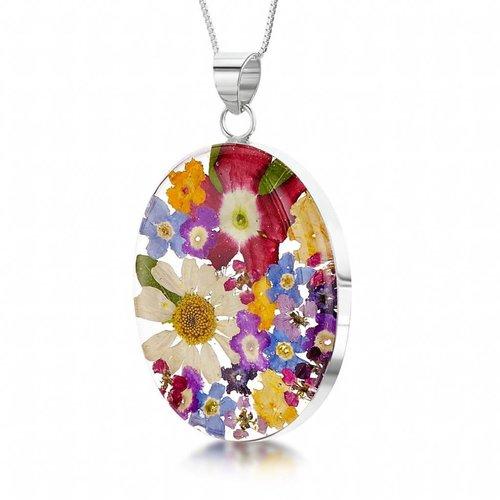 Shrieking Violet Oval gemischter Blumenanhänger Silber