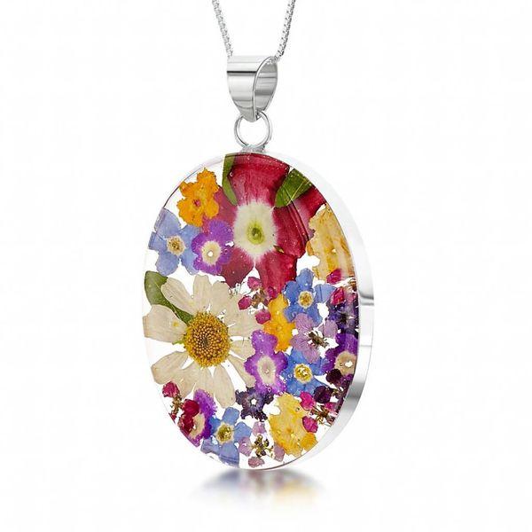 Oval gemischter Blumenanhänger Silber