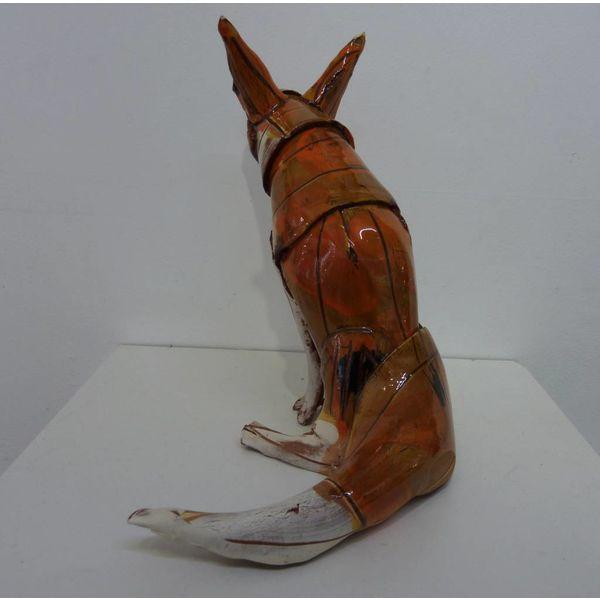 Sitting Fox 1  ceramic sculpture