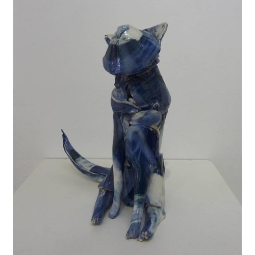 Anna-Mercedies Wear Small Blue Cat ceramic sculpture