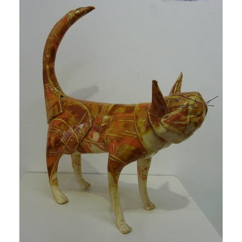 Anna-Mercedies Wear Standing Ginger Cat ceramic sculpture