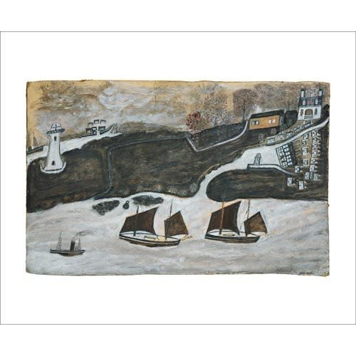 Art Angels Two Ships and Steamer  card by Alfred Wallis