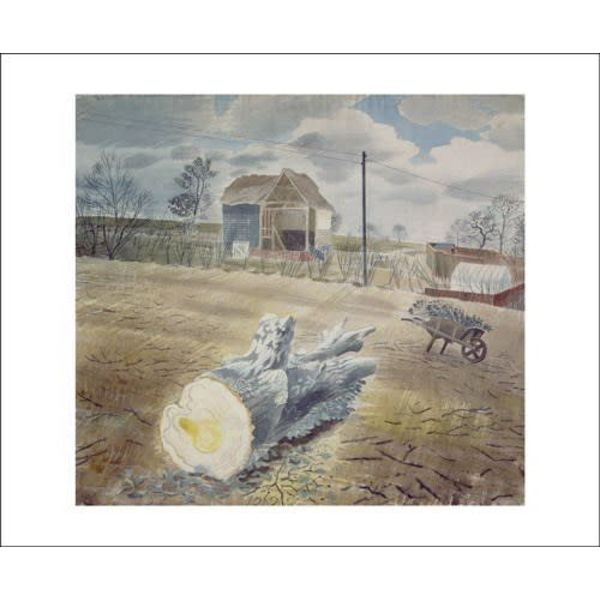 Tree Trunk and Wheelbarrow by Eric Ravilious