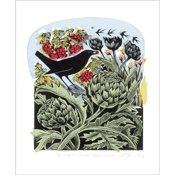 Blackbirds stealing Red Currents by Angela Harding