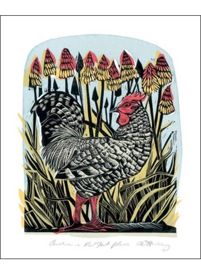 Chicken and red Hot Pokers by Angela Harding