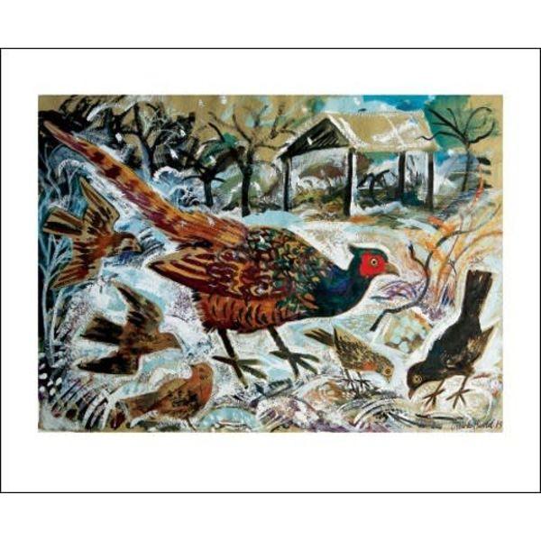 Cock Pheasant and Blackbird card by Mark Hearld