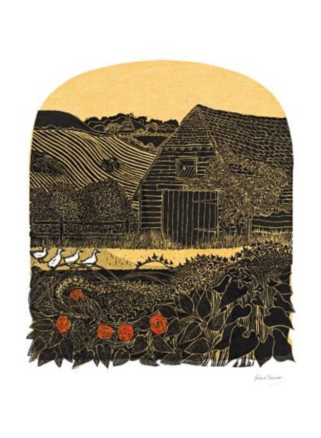 Four Duck and Barn card by Robert Tavener
