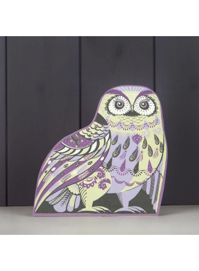 Purple Owl cut card by Sarah Young