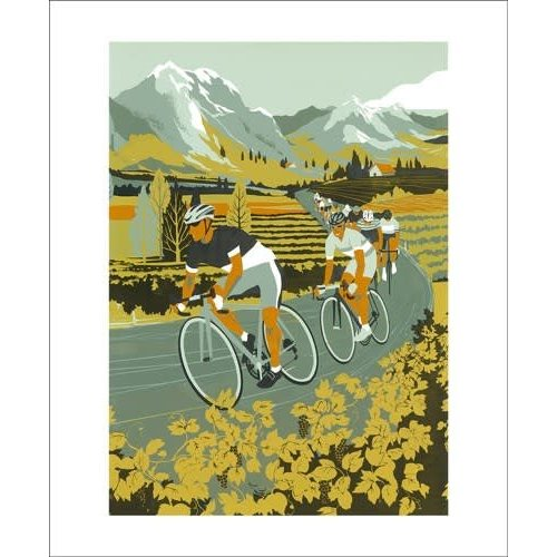 Art Angels Vineyard Cyclists card by Eliza Southwood