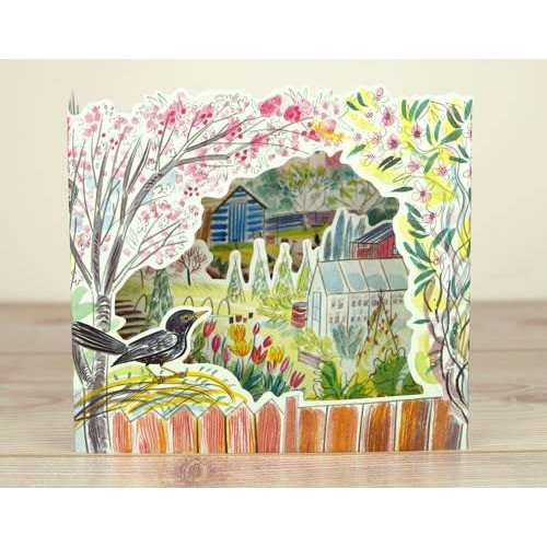 Art Angels Blackbird Allotments 3D card by Emily Sutton