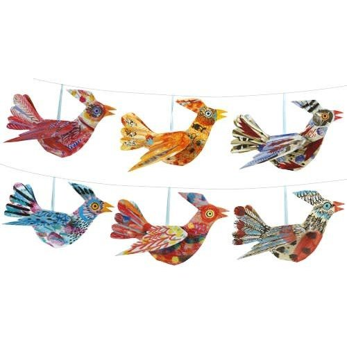 Art Angels New Multi coloured Bird  Folding Decoration Mark Hearld