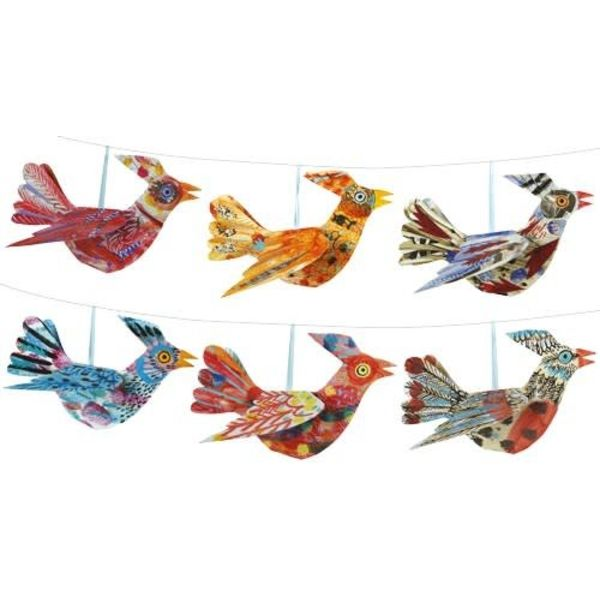 New Multi coloured Bird  Folding Decoration Mark Hearld