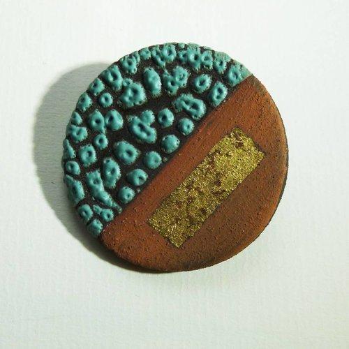 Emma Williams Ceramic  stoneware with gold leaf Brooch