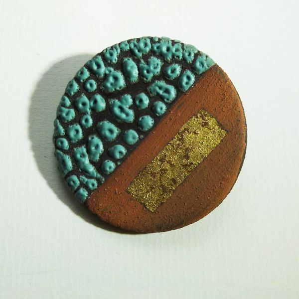 Ceramic  stoneware with gold leaf Brooch