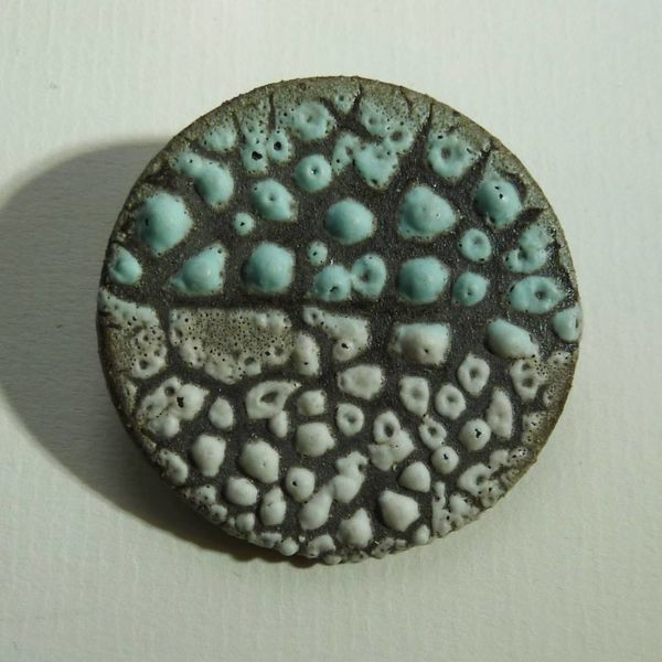 Copy of Ceramic  stoneware with gold leaf Brooch