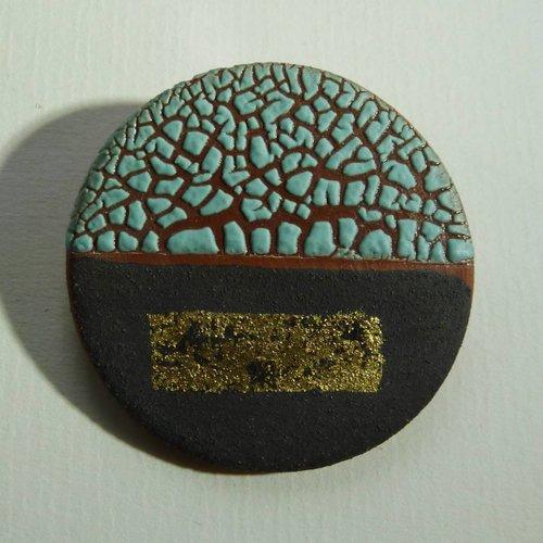 Emma Williams Ceramic  stoneware and gold leaf  Brooch